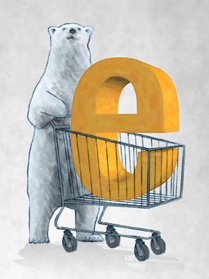 Oso con carrito de la compra